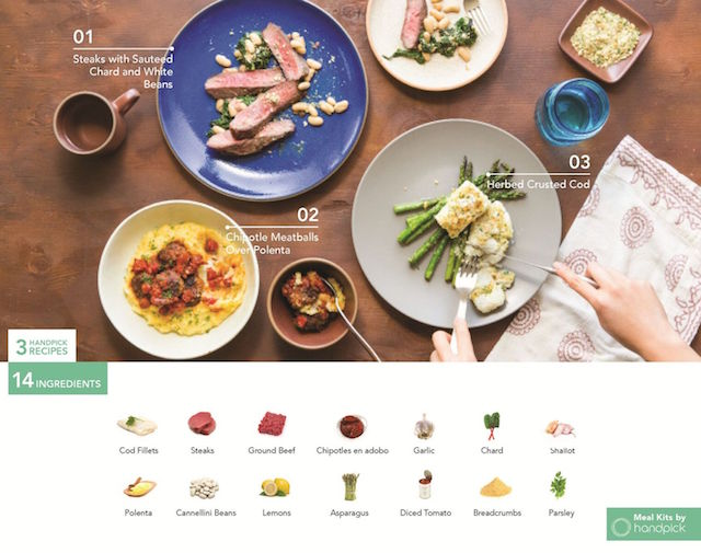 Handpick helps eliminate food waste and avoid ingredient repackaging by designing affordable meal kits with groceries perfectly paired to cook 3 recipes.